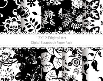Digital Scrapbook Paper Pack (12x12)  Instant Download 10 Digital papers Art Images