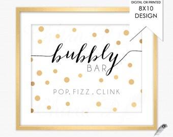 Bubbly Bar Sign - Printed | Printable, Pop Fizz Clink Bridal Shower Champagne Black White Gold Brunch Mimosa Confetti Decor #013 p02 w20