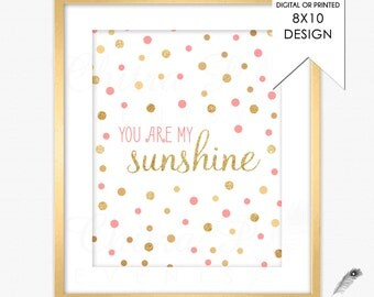 Coral & Gold You are my Sunshine Wall Art - Printed or Printable, Nursery Rhyme Glitter Instant Download Baby Shower Girl Pink #077 #p01