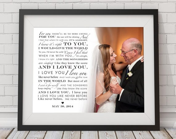 Father Daughter Dance Custom Song Lyric Photo Wall Art