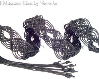 "Macrame Belt ""Nocturne"", women's belt, knotted of waxed cord - MADE TO ORDER"