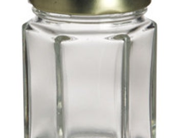 24 Hexagon Jam Jars/ 2 oz Each/ DIY Wedding Supplies/ Mini Jam Jars/ Gold Lids