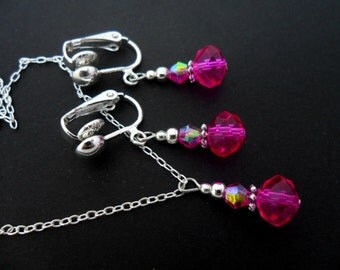 A hand made pink crystal bead  necklace and  clip on earring set.