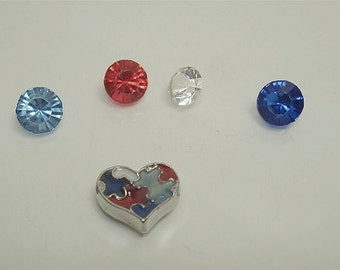 Puzzle Heart 7MM floating charm with 4 crystals// Making memories floating charms// Memory locket charms// by Color Kissed Silk LLC
