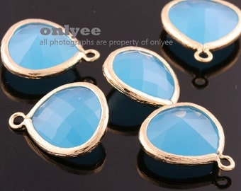 2pcs-18mmX15mmLarge Gold plated Brass Faceted Tear Drop With Glass pendants-OceanBlue(M363G-C)