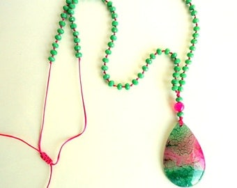 Kelly Green Necklace, fuchsia necklace, agate teardrop pendant, shamrock green necklace, Rosary necklace, beach necklace, hot pink necklace