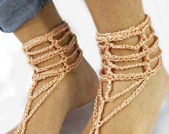 Foot jewelry, barefoot sandals, wedding shoes, peach wedding barefoot sandles, crochet summer boots, chain barefoot sandals by ZAPrix