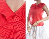 Vibrant eye catching authentic 1950's vintage sheer scarlet nylon pleated bodice detail button back detail sleeveless blouse  - DB183