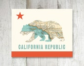 California Bear Flag Vintage Map Print -  8 x 10