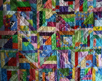 Scrappy Art Quilt; Multicolored Quilt; Chevron Quilt; Textile Wallhanging; Fiber Art; Child's Quilt; Table Topper; Wall Art; Floral Quilt