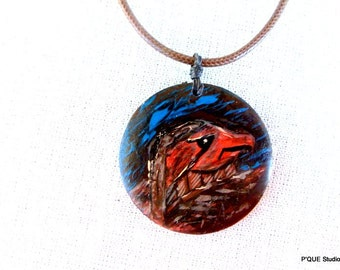 Eagle - handpainted focal wooden pendant, brown leather cord necklace, wearable art