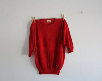 SALE 50 OFF Vintage Vibrant Red Blouse Shirt Womens Clothing Spring Summer New Old Stock