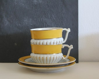 Vintage Tea Cups and Saucers Portugal Candal White Gold Yellow Tea Lovers Gift Collectors Home Decor