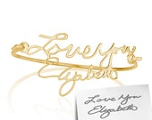 Signature Bangle- Handwriting Bangle, Gold Name Bracelet, Word Bracelet, Nameplate bracelet