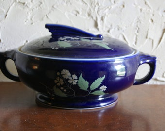 Vintage Blue Ceramic Pottery Roseville Bowl With Clematis