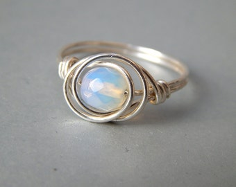 Opalite Ring, Sterling Silver Ring,  Opal Ring, Silver Ring,  Minimalist Ring, Any Size, Gifts for Her