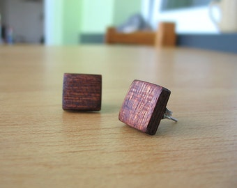 Original handmade wooden earrings - mahogany wood