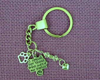 "Sterling Silver 925 Charm "" I Speak for Those Who Have No Voice"" - Key Ring -  Animal Rescue, Animal Love, Animal Awareness"