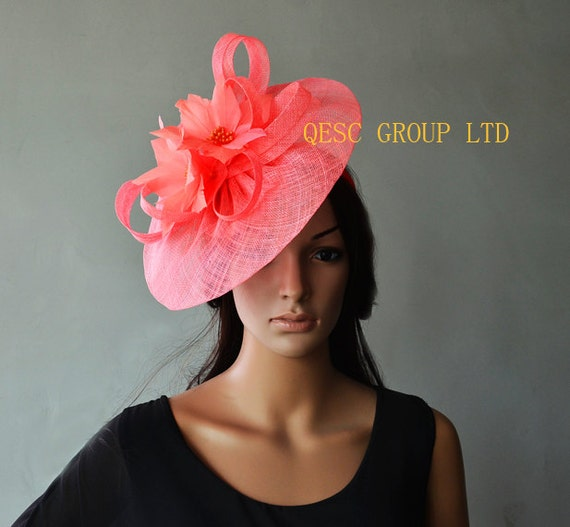 Coral Pink Big Fascinator Sinamay Hat With Feather