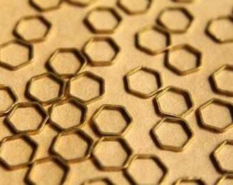 100 pc. Raw Brass Hexagon Links: 9mm by 8mm | FI-158