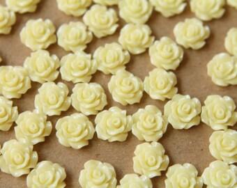 CLOSEOUT - 30 pc. Buttercream Crisp Petal Rose Cabochons 10mm | RES-502