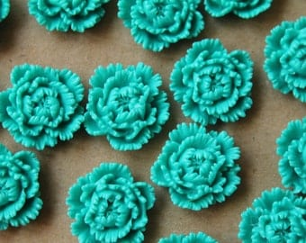 CLOSEOUT - 10 pc. Teal Peony Cabochon 24mm | RES-511