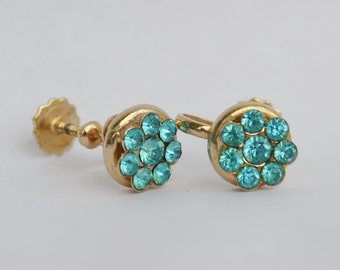 Vintage earrings blue aqua rhinestones prom bridal wedding anniversary gift set in gold tone Astronaut Wives Mad Men