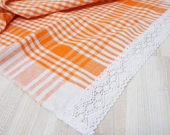 Kitchen towel cotton tartan chechered checked white lace bathroom tea guest table placemat doily orange tablerunner runner overlay
