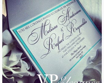Silver and Light Teal Invitation