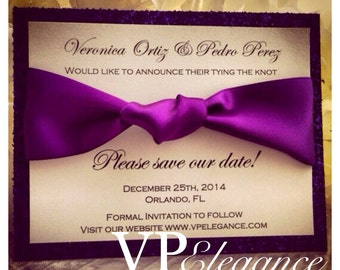Purple wedding Save the Dates, glitter save the date, dark purple wedding save the date, plum save the dates, eggplant save the date
