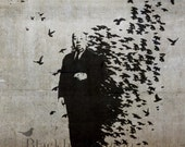 Hitchcock Stencil Banksy Street Art , London  Fine Art Photograph 5 x 5 inches limited edition print