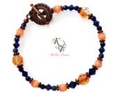 Blue Bracelet, Dark Blue Bracelet, Blue Jewelry, Copper Bracelet, Copper Jewelry, Peach Bracelet, Peach Colored Jewelry, Indigo Blue