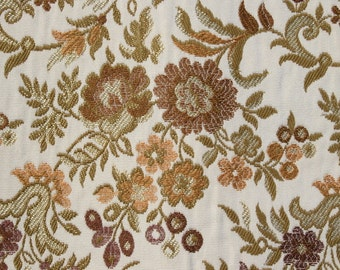 Vintage Gold Flower Floral Brocade  Upholstery Fabric by the yard, Curtain Drapery Pillow Heavy Weight Material BTY Yardage