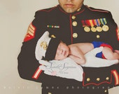 Crochet Marine Corps USMC Hat with Matching Diaper Cover - Dress Blues- Newborn-3-6Mo Made to Order Photography Prop