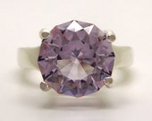 5.40 Carat Rose de France Amethyst Gemstone Ring Size 7 1/4 Sterling Silver Hand Cut Gem