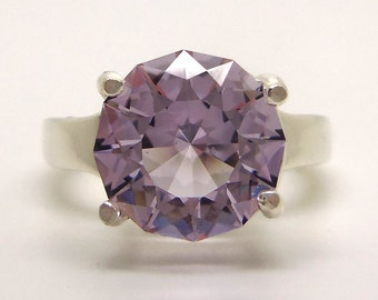 5.40 Carat Rose de France Amethyst Gemstone Ring Size 7 1/4 Sterling Silver Hand Cut Gem