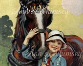 Girl and Her Horse, Restored Antique Art, Gift for Horse Lover, Great Girl's Room Print #142