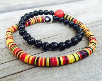 Double wrap African Stretch Bead Bracelet