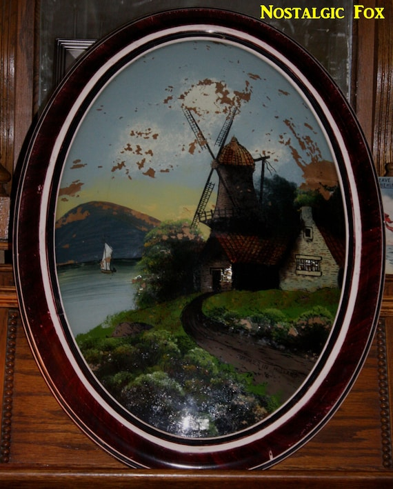 Early  Reverse Glass Painting Landscape