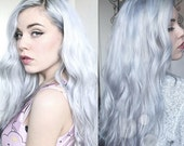 Icy White Hair Extensions, Frozen Hair, Clip In Hair Extensions, Steel White Human Hair, Weft Hair Extensions, Track Hair, Custom Your Color