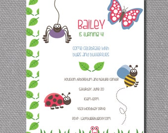 """Custom Printable 5""""x7"""" Bugs and Butterflies Birthday Party Invitation"""