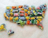 Plush United States - Learning Map - Plush Learning Map - Map Toy - Montessori Map - United States Map - Preschool Toy - Homeschool