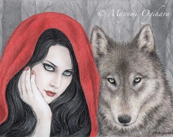 Dark Fairy Tale: Red Riding Hood - Open edition art print, colored pencil drawing