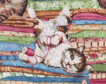 Cats in Sewing Fabric, Thread, Quilts & Pillow Cases ~ Retired Cat Fabric FQ