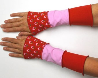 Mittens Arm Warmers summer 3 colours Wrist Warmers patchwork cotton flower red