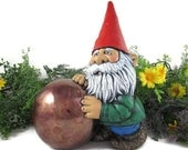 upgraded shippng - Ceramic Unique Gnome with Mirror Ball - 13 inches,  lawn or garden gnome, outdoor or indoor