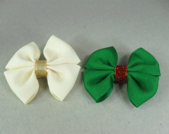 Baby Girl Bow, Ivory Hair Bow, Green Hair Bow for Girls, Toddler Hair Bow, Small Bows, set of 2