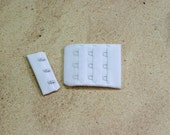 "3 Sets White 3 Hook and Eye Bra Closure 1.75"" x 2.25"" for Bra Making and Lingerie Sewing DYEABLE Heat Sealed Bramaking"