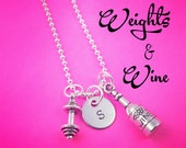 Weights and Wine Necklace, Custom Weightlifting Necklace, Fitness Motivation, Exercise Jewelry, Dumbbell Necklace, Gym Jewelry, Wine Charm