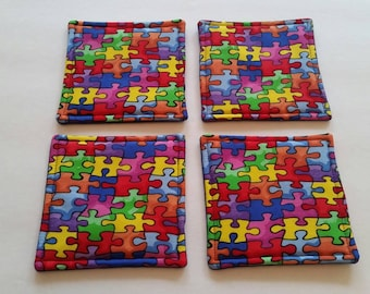 Autism Awareness Puzzle Pieces Coasters Backed in Blue Reversible Fabric Coasters Set of 4 National Autism Awareness Month